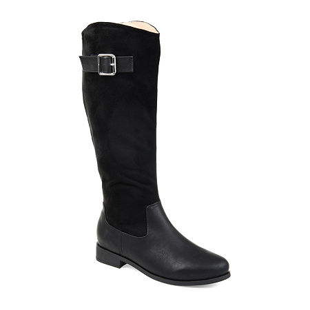 Journee Collection Womens Frenchy Extra Wide Calf Stacked Heel Zip Riding Boots, 7 1/2 Medium, Black