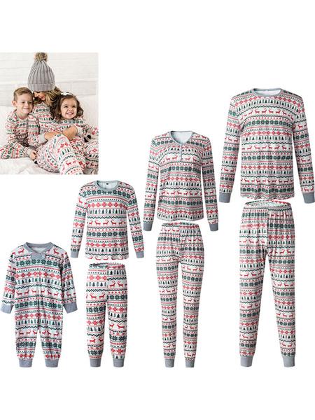 Milanoo Family Christmas Pajama Christmas Print 2 Piece Family Sleepwear Set
