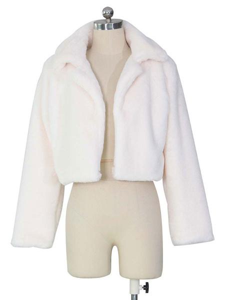 Milanoo Faux Fur Coats Green Long Sleeves Faux Fur Jacket Women Coat