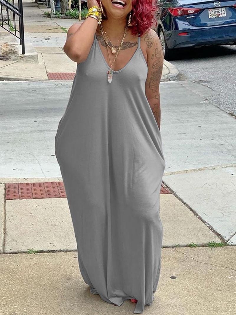 Ericdress Sleeveless Pocket Floor-Length Summer Spaghetti Strap Dress