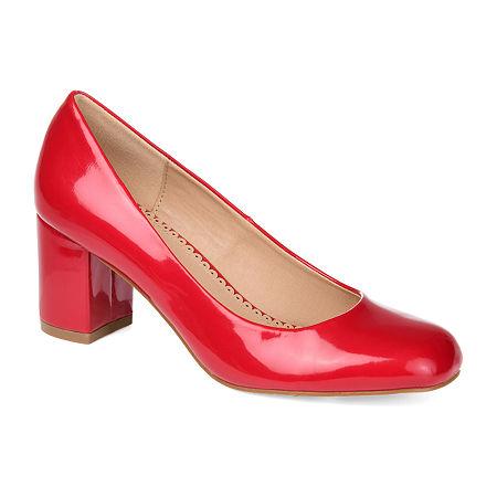 Journee Collection Womens Miranda Pumps Block Heel, 5 1/2 Medium, Red