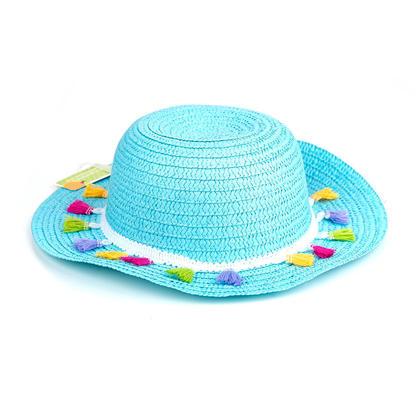 Chapeau de soleil d'été en paille taille enfant avec des glands colorés, 4 couleurs assorties - Bleu