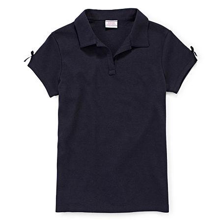 IZOD Little & Big Girls Short Sleeve Stretch Polo Shirt, 10-12 , Blue