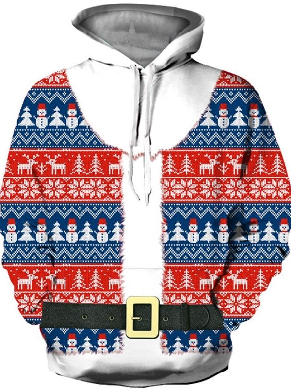3D Fake Two-Piece Christmas Theme Unisex Soft Pullover Hoodies with Pocket