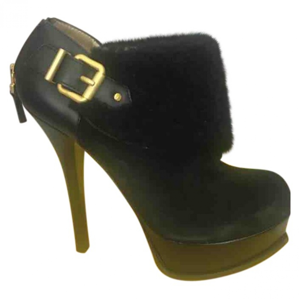 Fendi \N Black Fur Ankle boots for Women 39.5 EU