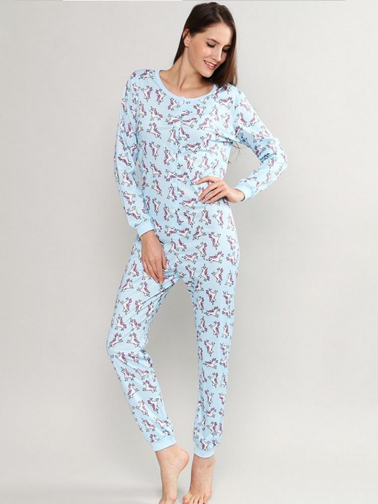 Plus Size Unicorn Print Jumpsuits Pajamas Front Button Soft Casual Women Sleepwear