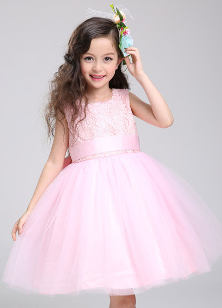 Milanoo Flower Girl Dress Lace Princess Tutu Dress Tulle Knee Length Pink Toddler's Pageant Dress