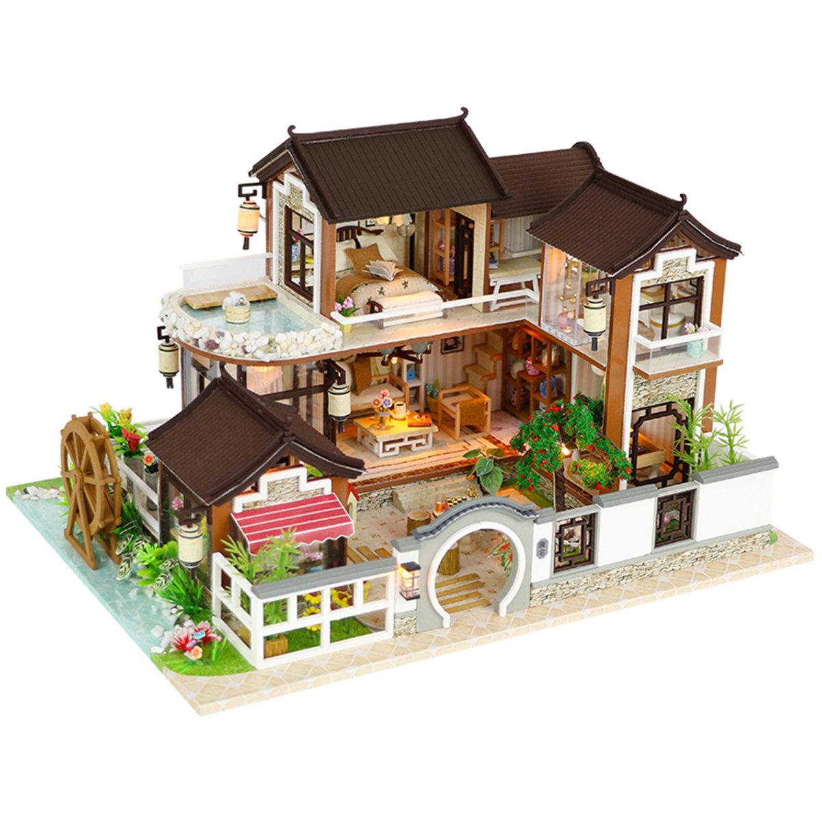 Ancient Town Super Large Luxury Villa Model DIY Cottage Dollhouse
