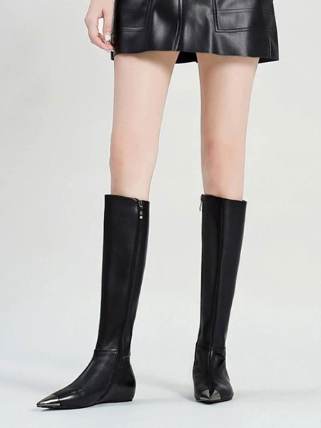 Milanoo Knee High Boots Black Pointed Toe Flat Knee Length Boots For Woman