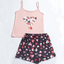 Heart & Cartoon Graphic Cami Top & Track Shorts