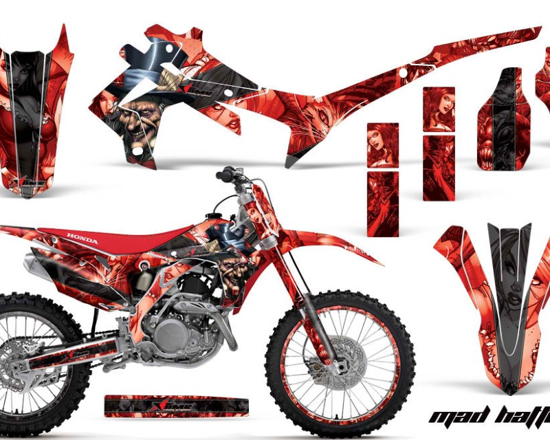 AMR Racing Graphics MX-NP-HON-CRF450R-13-16-HAT K R Kit Decal Sticker Wrap + # Plates For Honda CRF450R 2013-2016áHATTER BLACK RED