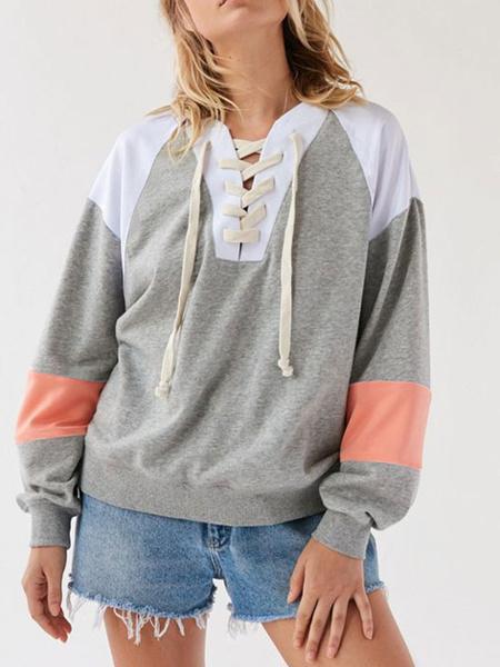Milanoo Women Sweatshirt Grey Long Sleeve Drawstring Cotton Pullover Sweatshirts