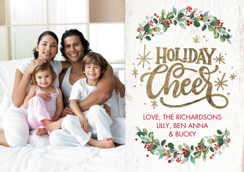 Holiday Photo Cards 5x7 Cards, Premium Cardstock 120lb with Scalloped Corners, Card & Stationery -Holiday Cheers Berries by Tumbalina
