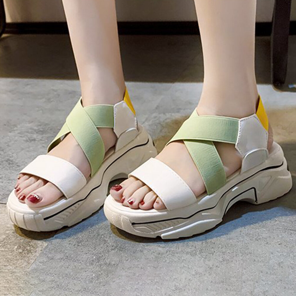 Women Slip On Elastic Band PlatForm Sandals