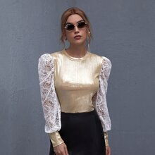 Contrast Lace Puff Sleeve Metallic Top