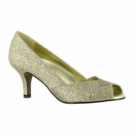 Easy Street Womens Ravish Pumps Peep Toe Kitten Heel, 8 1/2 Medium, Yellow