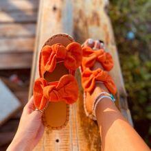 Double Bow Decor Suede Slide Sandals