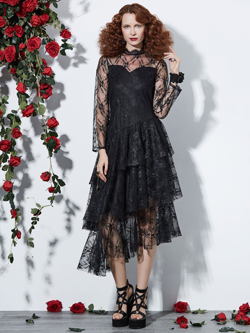Ericdress Halloween Lace Long Sleeves Asymmetric Women's Dress