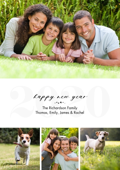 New Year's Photo Cards 5x7 Cards, Premium Cardstock 120lb with Scalloped Corners, Card & Stationery -2020 New Year Gold Overlay by Tumbalina