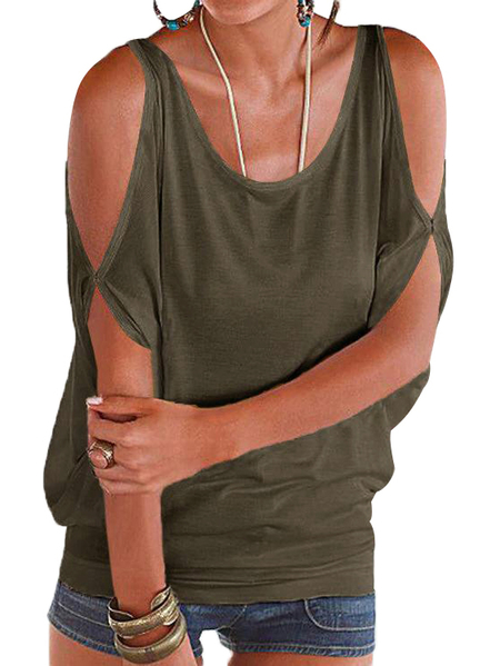 Yoins Army Green Scoop Neck Cold Shoulder Tie-up at Back Tee
