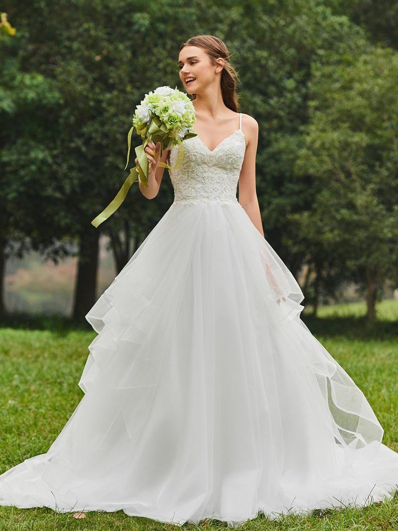 Ericdress Spaghetti Straps Ball Gown Appliques Wedding Dress