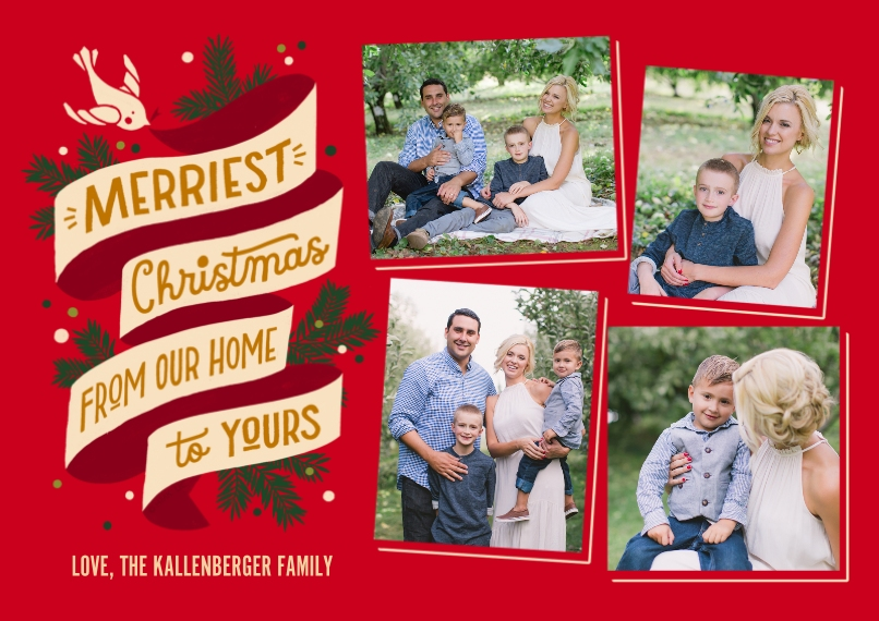 Christmas Photo Cards 5x7 Cards, Premium Cardstock 120lb with Rounded Corners, Card & Stationery -Merriest Christmas Banner Collage by Hallmark