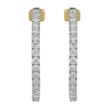 1 1/2 CT. T.W. Genuine Diamond 10K Gold 24.1mm Hoop Earrings, One Size , No Color Family