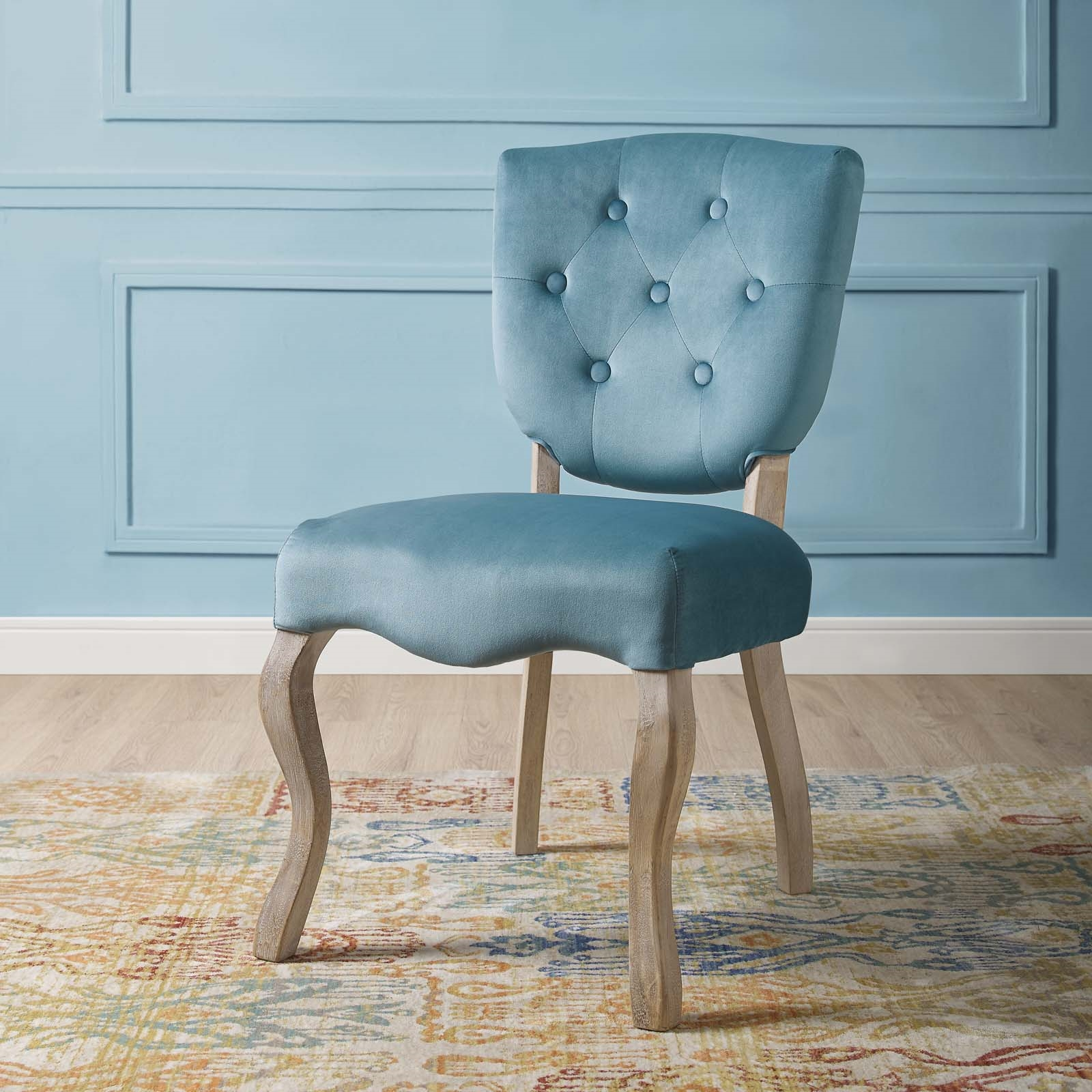 Array Vintage French Performance Velvet Dining Side Chair in Sea Blue