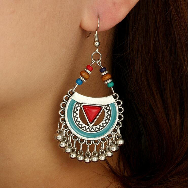 Vintage Geometric Hollow Half-round Tassel Pendant Earrings Turquoise Carved Beads Long Earrings