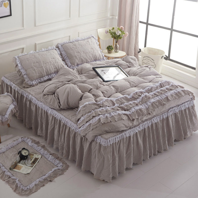 4 Pieces Lace Dnvet Cover Set Soft Cozy Thickened Cotton Bed Skirt Set of 6 Colors