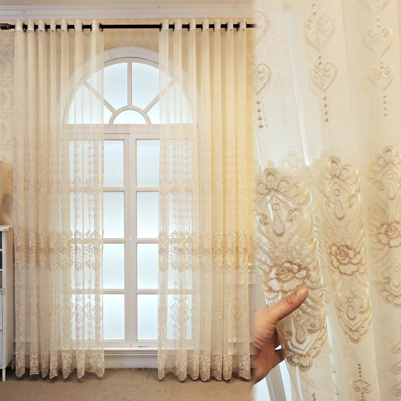 Classic and Elegant Beige Embroidered Custom Semi Sheer Curtain for Living Room Bedroom