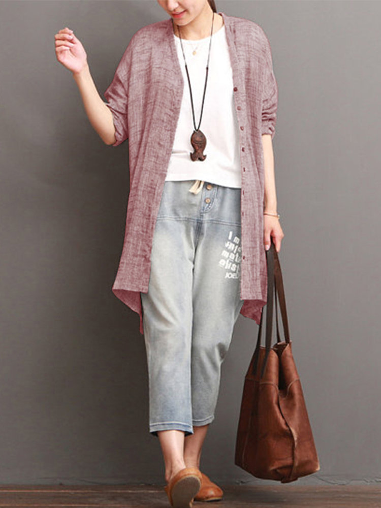 Casual Solid Long Sleeve Button Shirt For Women