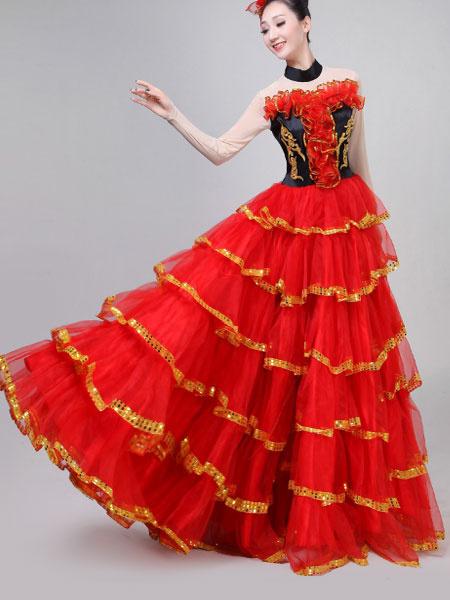 Milanoo Flamenco Girls Yellow Long Sleeves Mesh Billowing Dancing Skirt Adults Spanish Dancer Ballroom Dress Paso Doble Costumes Halloween