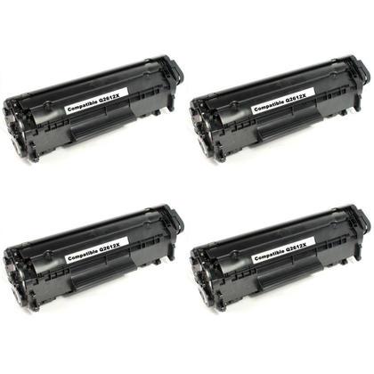 Compatible HP 12X Q2612X cartouche de toner noire haute capacite - boite economique - 4/paquet