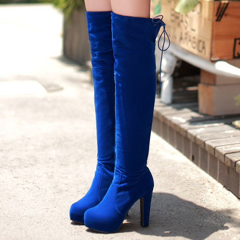 Ericdress Elegant Lace-Up Platform Chunky Heel Knee High Boots