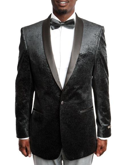 Men's Black Velvet Tuxedo Jacket Satin Shawl Lapel 100% Wool Blazer