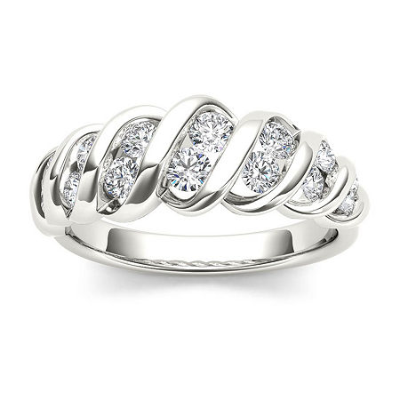 3.5MM 3/4 CT. T.W. Genuine White Diamond 14K Gold Wedding Band, 6 , Multiple Colors