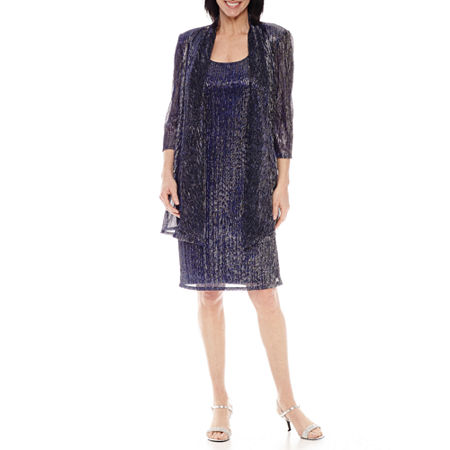 R&M Richards 3/4 Sleeve Crinkle Jacket Dress, 8 , Blue