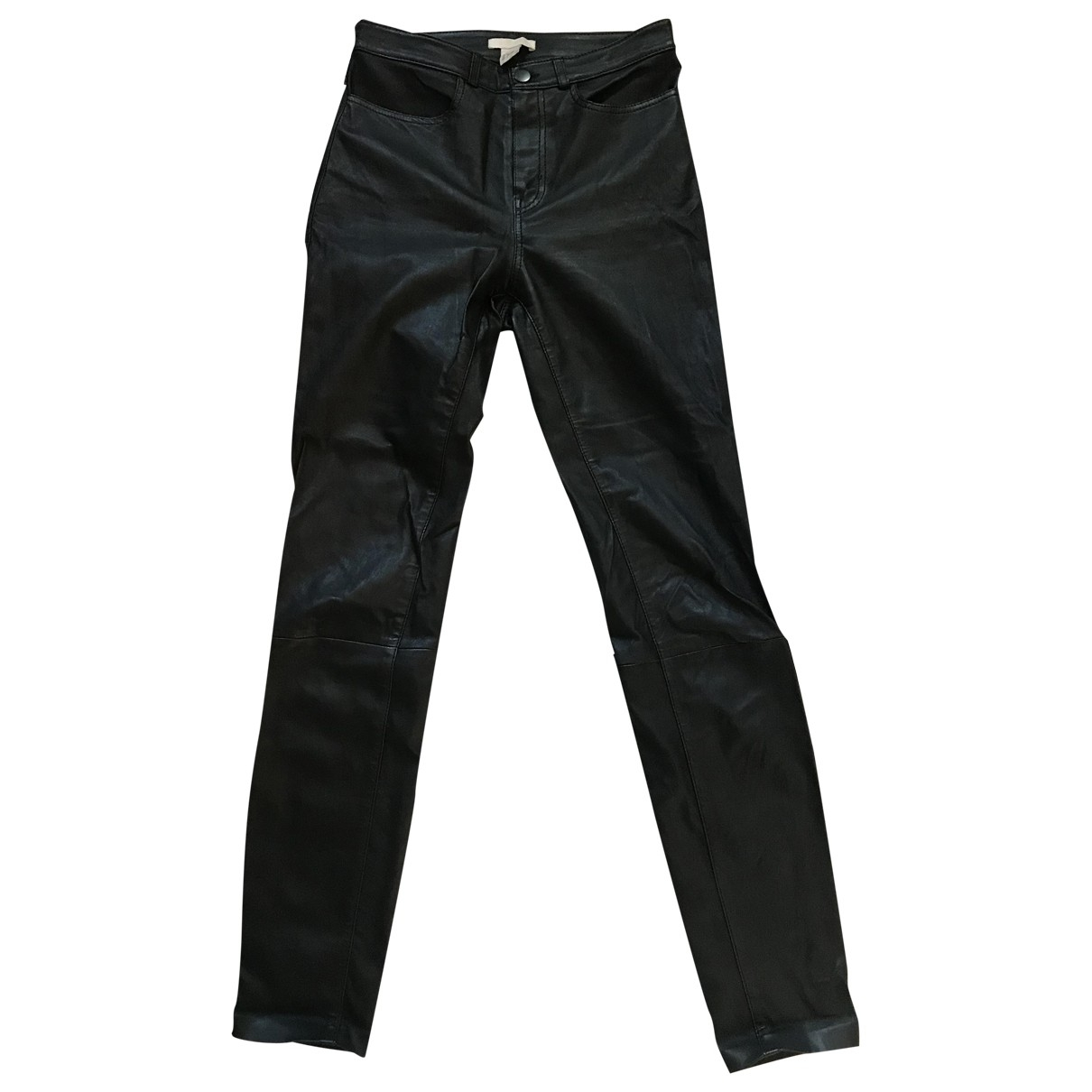 H&m Studio \N Black Leather Trousers for Women 6 US