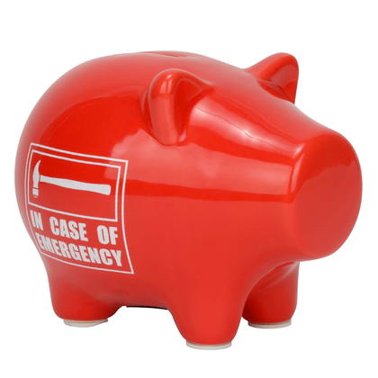 Tirelire cochon rouge - IN CASE OF EMER