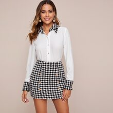 Contrast Collar Blouse & Houndstooth Double Button Skirt Set