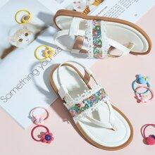Toddler Girls Sequin Decor Thong Sandals