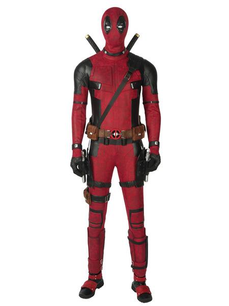 Milanoo Marvel Comics American Comics Cosplay Deadpool 2 Wade Wilson Costume Burgundy Suede Cosplay Zentai Suit (no Shoes) Halloween