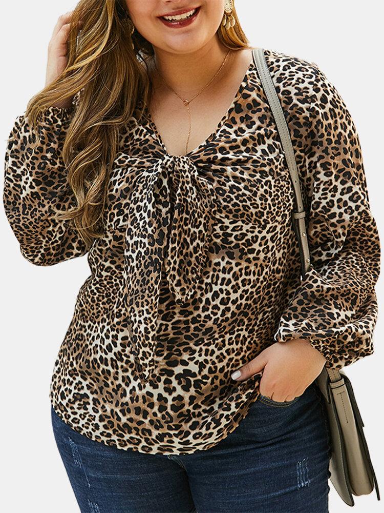 Leopard Print V-neck Plus Size Blouse