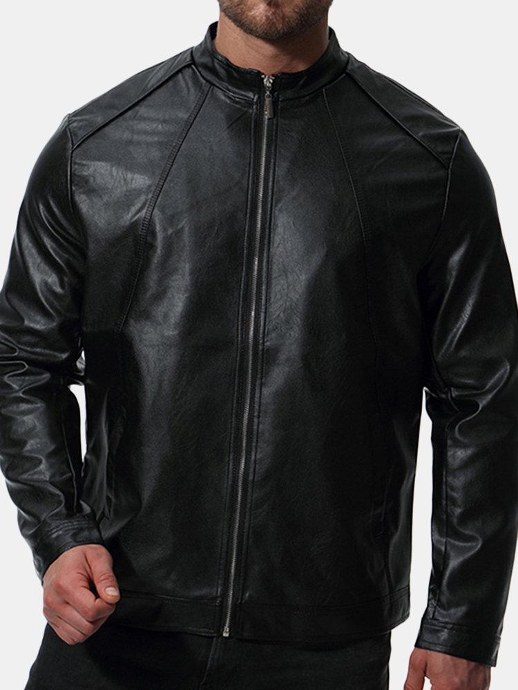 Mens Moto Oversize Loose Zipper Up Solid Color Stylish PU Leather Jacket
