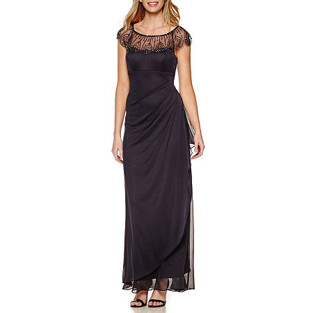 DJ Jaz Cap Sleeve Beaded Neck Evening Gown, 8 , Gray