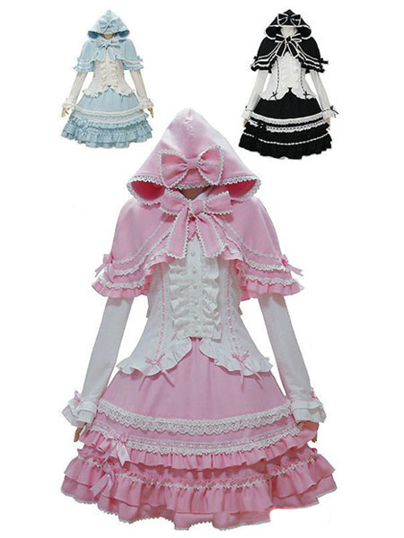 Milanoo Sweet Lolita Oufits Pink Lolita Top With Skirt And Cape