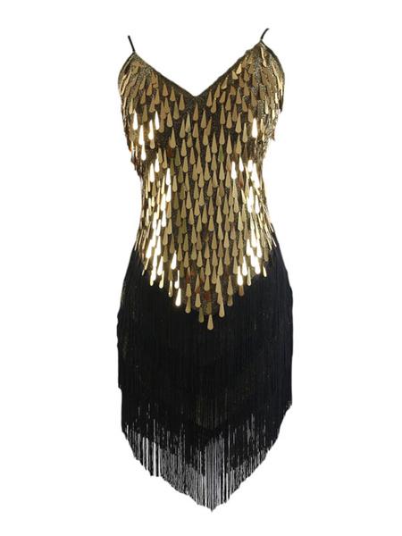 Milanoo 1920s Halloween Dress Costume Gatsby Flapper Dress Black Sequin Dress