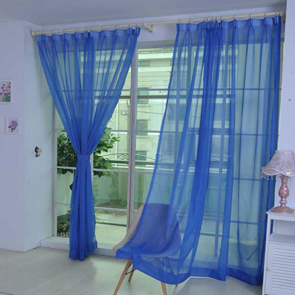 Cost-Effective Pure Colored Blue Custom Sheer Curtain