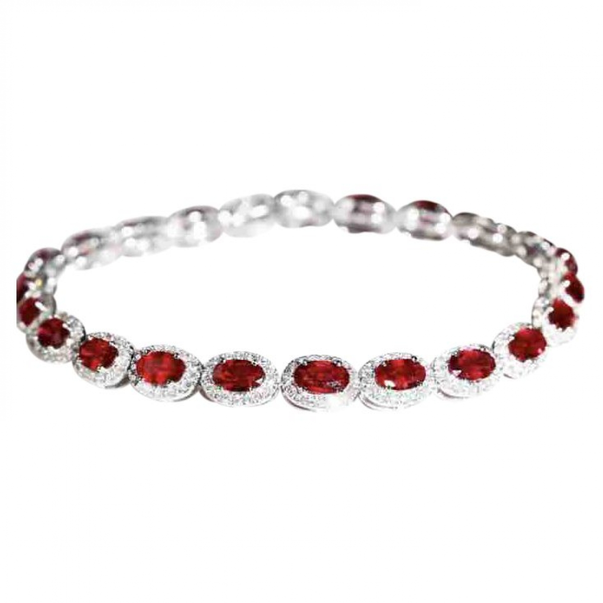 Non Signé / Unsigned Rubis Silver White gold bracelet for Women \N